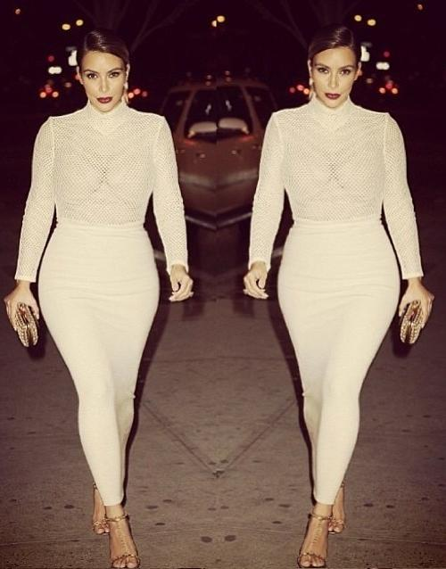 Kim_Kardashian_Veronique_Leroy_Mesh_Top_Donna_Karen_Stretch_Tube_Skirt